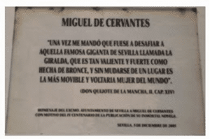 Placa conmemorativa de Miguel de Cervantes