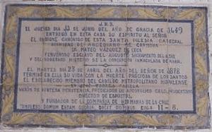 Placa conmemorativa Mateo Vázquez de Leca